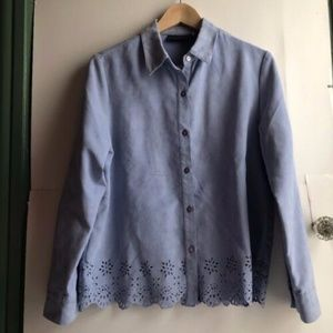 RELATIVITY Blue Suede Long Sleeve Button Down PM
